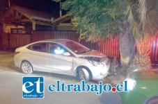 Así quedó el vehículo que fue recuperado por Carabineros de San Felipe en inmediaciones de villa Bernardo Cruz.