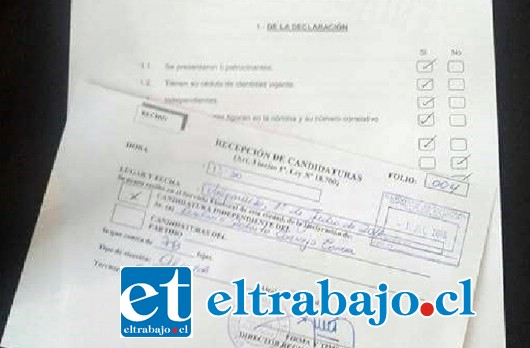 DOCUMENTOS OFICIALES.- El periodista, tuvo que iniciar tramitaciones de manera oficial, por lo cual debió concurrir hasta la dirección regional del Servicio Electoral, en la ciudad de Valparaíso.