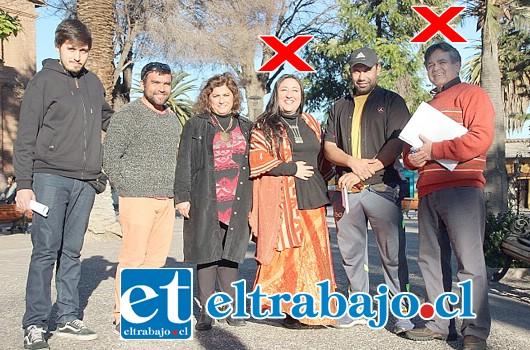 La lista original de candidatos (de izq. a der.) Francisco Casas, Ítalo García, Marcela Zamora, Lorena Véliz (bajada), Jorge Iturrieta y Alejandro Meza (bajado).