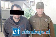 El imputado fue detenido por Carabineros tras ser reconocido por la víctima como autor del robo de un anillo en calle Hermanos Carrera de San Felipe. Sin embargo éste no portaba la especie.
