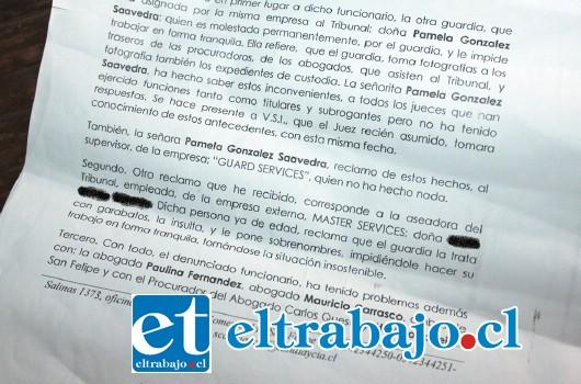 SIN RESPUESTA.- Este documento, con sus denuncias incluidas, nunca recibió respuesta por parte de las autoridades y empresa involucradas.