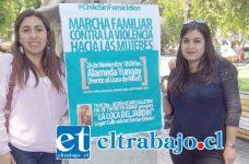 La coordinadora del Centro de la Mujer de la Provincia de San Felipe, Valeria Iturrieta (A la izquierda), convocó a una marcha familiar contra la violencia hacia las mujeres, que se desarrollará mañana jueves a partir de las 18 horas desde la Alameda Yungay.