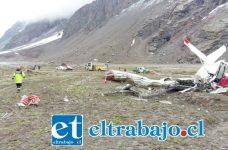 La avioneta cayó en una explanada a 300 metros de la ruta internacional cerca del ingreso al sexto cobertizo en el kilómetro 100. (Foto gentileza Comandancia Cuerpo Bomberos Los Andes).