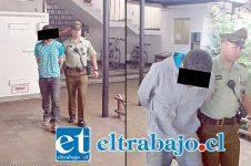Los detenidos J.C.P. y A.M.Q., fueron sindicados como los autores del robo en la vivienda del Concejal Ricardo Covarrubias a primeras horas de este sábado en San Felipe.
