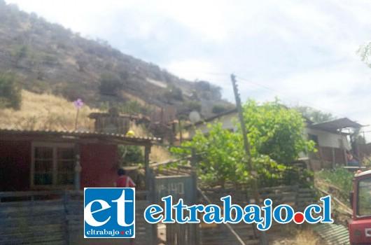 Bomberos logró controlar un incendio que se produjo en el Cerro La Virgen, manifestándose cinco metros de llegar a las casas del sector.