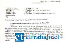 La orden fue dictada este lunes y contempla un arresto por tres días para el Alcalde Pedro Caballería.