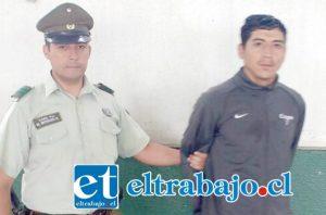 El imputado fue capturado por Carabineros, tras haber cometido el delito de robo por sorpresa, resultando víctima una adulto mayor de 75 años de edad en la comuna de San Felipe.