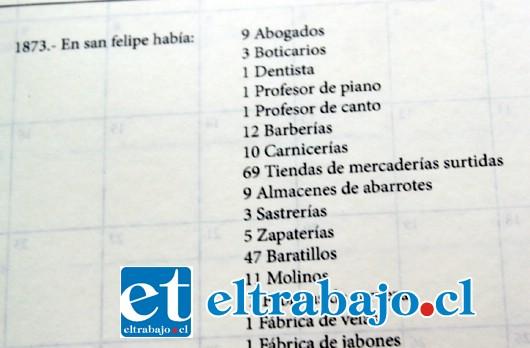 DETALLES VALIOSOS.- En esta página por ejemplo, se informa de la cantidad de abogados, carnicerías y profesores de piano existían en el año 1873 en nuestra ciudad.