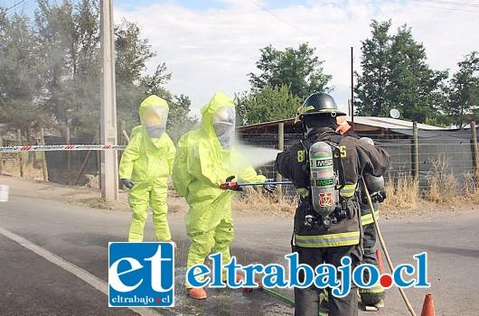 Tras las labores de limpieza en el sector, el equipo especializado debió ser sometido al procedimiento de rigor.
