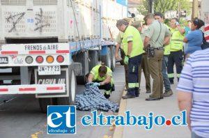 Hasta el lugar llegaron los equipos de emergencia del Samu, Bomberos y Carabineros, quienes solo pudieron constatar la muerte de Carlos Robledo. (Fotos Patricio Gallardo)