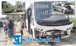 Nueve personas heridas dejó una colisión frontal protagonizada por un microbús de la empresa Vera Arcos y un automóvil tipo Station Wagon en el sector de Almendral.