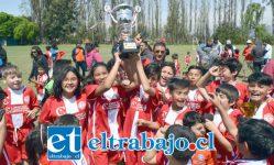 LOCURA POR LA COPA.- Aquí tenemos a los campeones del torneo, ellos son los chicos de la Escuela Néstor Vega, de Los Andes.