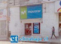 La sucursal Movistar se ubica en calle Prat 851-B, frente a la Plaza de Armas de San Felipe.