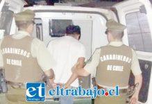 El sujeto de 28 años de edad fue detenido por Carabineros en calle Dardignac esquina Las Heras en San Felipe. (Foto Referencial).