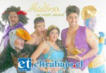 Elenco de Aladino, un cuento musical que será del agrado de grandes y chicos.