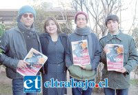 Luis Benítez, vocalista 'Piel de Tigre', junto a Pamela Farías, encargada Oficina de la Mujer Municipalidad de Los Andes; Javier Loezar, baterista 'Bad Trip Boys', y Luciano Milanez, guitarrista de 'La 40 y 5'.