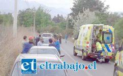 El accidente ocurrió la tarde de este domingo en la ruta del sector Casas Chicas de Quilpué en San Felipe.