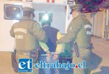 El imputado fue detenido por Carabineros en calle Encón de San Felipe tras la sustracción de un televisor Led. (Foto Archivo).