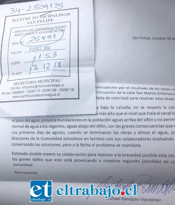 ENVIARON CARTA.- En esta carta, enviada a las autoridades, el administrador de Canal El Pueblo también hizo sus reclamos al municipio.