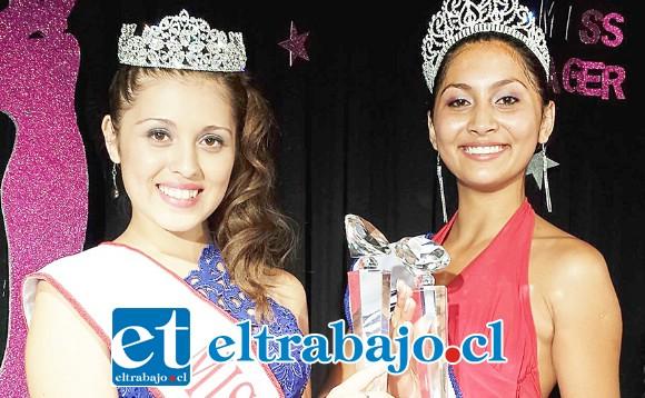 MODELO CON EXPERIENCIA.- Aquí vemos a María Paz Molina cuando ganó el Mis Teen 2014, a su lado la entonces Miss Aconcagua, Melissa Garay.