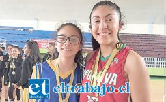 La jugadora de San Felipe Basket (a la derecha en la foto) fue citada a la concentración de la selección chilena U14.