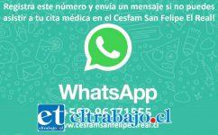 Registre este número +569-96171555 y envíe un mensaje si no puede asistir a su cita médica.
