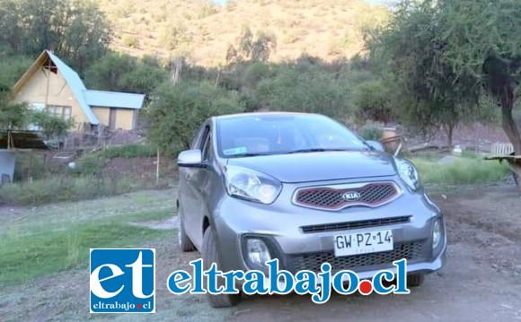 Este es el auto Kia Morning que fue robado a Rubén Henríquez la noche del lunes en el sector de Los Molles en San Felipe.
