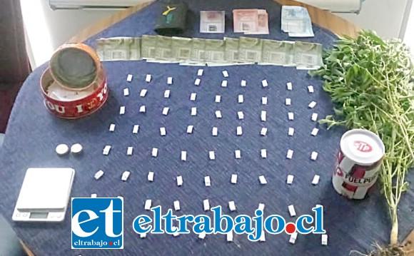 Personal de la PDI incautó papelillos de pasta base, dos plantas de cannabis sativa y dinero en efectivo desde el inmueble de los imputados en Villa España de Santa María.