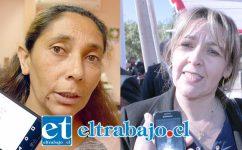Ingrid Ferrer, putaendina que debe desalojar la vivienda que Serviu entregó a su padre en vida. Trabajadora social Patricia Boffa, funcionaria del Serviu San Felipe-Los Andes.