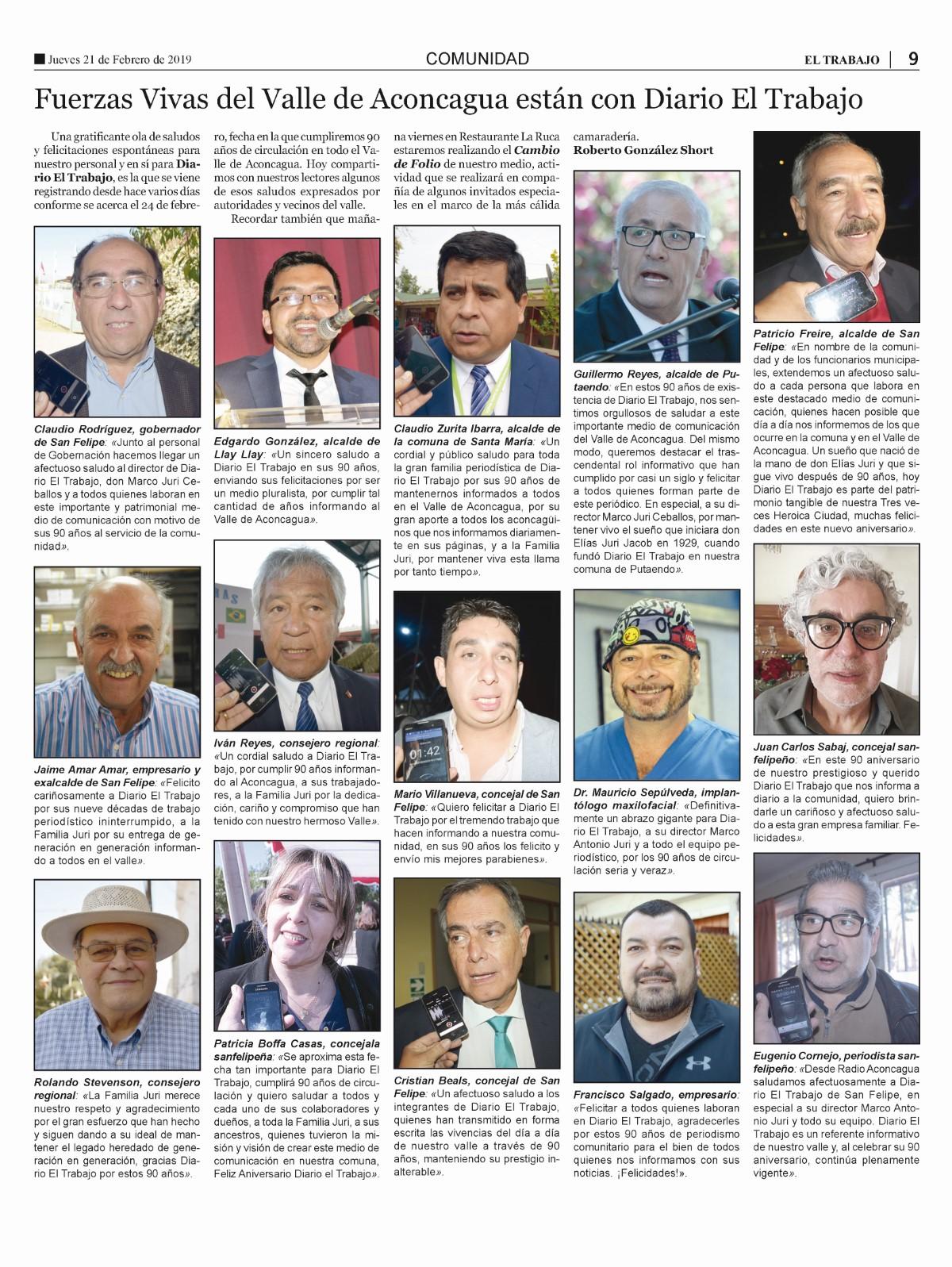 Fuerzas Vivas del Valle de Aconcagua están con Diario El Trabajo