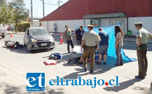 El accidente se produjo en horas de la tarde de ayer en calle Irarrázaval de la comuna de Santa María. (Fotografía: Emergencia Santa María).