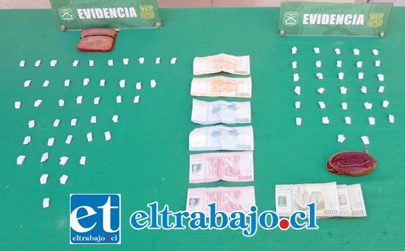 Personal de OS7 de Carabineros Aconcagua incautó desde el interior del domicilio del imputado, 76 papelinas de pasta base de cocaína en la población René Schneider de Los Andes.