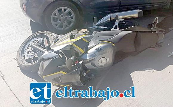 En este estado quedó la motocicleta tras el accidente ocurrido en horas de la tarde de ayer en Santa María.