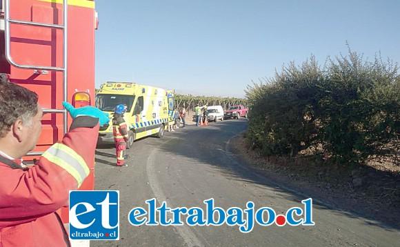 El accidente ocurrió en esta curva de la ruta E – 779 que une las comunas de Santa María y San Esteban.
