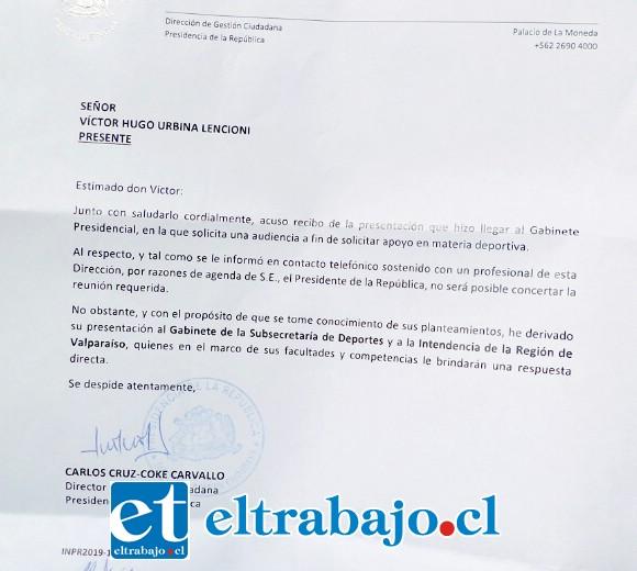 Esta es la carta respuesta enviada desde la presidencia de la república a 'Vitoko' Urbina, hincha emblemático de Unión San Felipe.