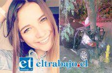 Catalina Adriasola Dinamarca, joven fallecida en el accidente que se aprecia a la derecha.