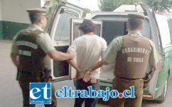 El imputado de 34 años de edad fue detenido por Carabineros en la comuna de Llay Llay. El sujeto además mantenía cuentas pendientes con la justicia en Santiago. (Referencial).