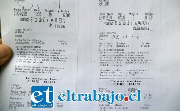 Acá vemos los pasajes que compró y no ocupó en la empresa Eme Bus. Ida y vuelta. A la derecha el de ida a las 07:30 horas del mismo viernes 19 de abril.