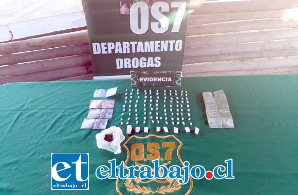Personal del OS7 de Carabineros incautó pasta base de cocaína y marihuana desde el domicilio de los condenados el año 2017.