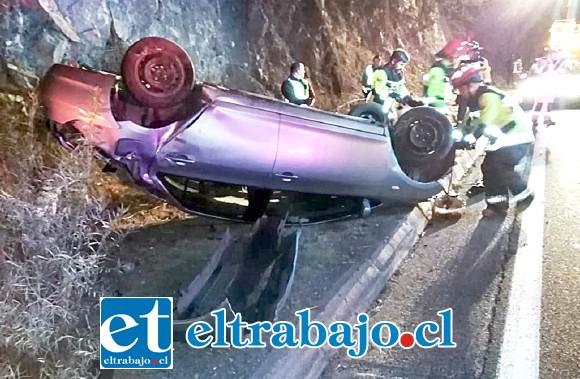 El accidente ocurrió alrededor de las 23:15 horas de anoche a la altura del kilómetro 63, donde se encuentra el Casino Enjoy.