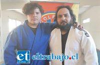 La joven promesa del Judo aconcagüino junto a su técnico Jorge Leiva.