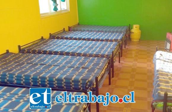 Este es el refugio que se habilitó para recibir a las personas en situación de calle de las diferentes comunas de la Provincia de San Felipe.
