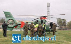 En un helicóptero de Carabineros debió ser trasladado hasta Los Andes, el arriero de 43 años que cayó a un barranco la tarde de este domingo, resultando con múltiples fracturas.