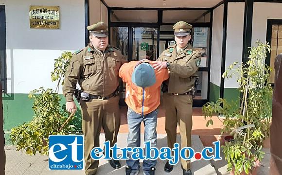 Carabineros de Santa María detuvo al ladrón luego del reconocimiento de la víctima como autor de robo en lugar habitado.