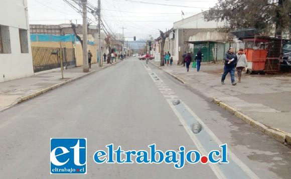 Este era el panorama en calle Merced ayer, tipo diez y media de la mañana.