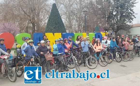 La salida de esta cicletada se dio en la 'Esquina Colorada', puntualmente desde el lugar donde están instaladas las letras corpóreas de nuestra ciudad.