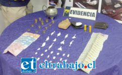 Personal de la Bicrim de la Policía de Investigaciones de San Felipe incautó diversas cantidades de drogas, dinero en efectivo y dos municiones desde el domicilio de los entonces imputados en la Villa Gabriela Mistral de Catemu.