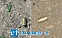 Carabineros de Putaendo levantó estas vainillas percutadas calibre 40 en el sitio del suceso.