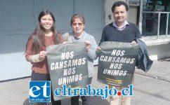 De izquierda a derecha: Nicol Concha, de Comisión Salud del Movimiento de Todas y Todos por Aconcagua; María Cuéllar, presidenta provincial de la CUT, y Alex Llanca, presidente de los temporeros.
