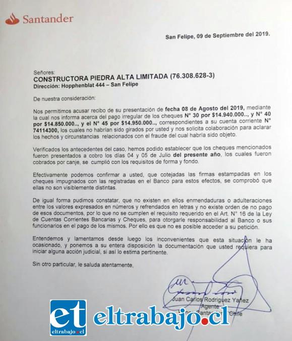 Esta es la carta respuesta que envió Banco Santander.